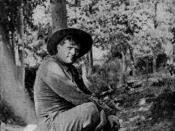 A photograph of author Jack London on his ranch in Sonoma County| in 1914.
