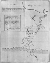 Hand-drawn map by George Washington, accompanying a printing of the journal he kept of his 1753 expedition into the Ohio Country.
