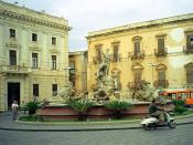 Italiano: Piazza Archimede con la Fontana di Diana a Siracusa. Polski: Plac Archimedesa, Syrakuzy, Sycylia