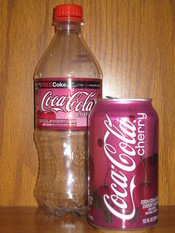 English: Cherry Coke bottle and can