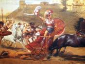 English: Triumphant Achilles: Achilles dragging the dead body of Hector in front of the gates of Troy.details