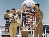 United Nations Fight for Freedom : colored, white and Chinese Boy Scouts in front of Capitol, They help out by delivering poster to help the war effort