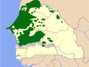 Locator map for Wolof ethnic distribution, ranges gathered from maps http://www.wolof.org/images/wolof%20people%20map.gif and http://www.joshuaproject.net/profiles/maps/m110856_mr.gif. Note that these show areas of traditional concentration of Wolof commu