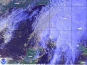 This image shows a disorganized Tropical Storm Mitch in the southeastern Gulf of Mexico with winds of 45 mph on November 4 at 20:32 UTC by NOAA-14.