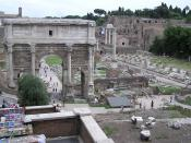 Part of the Roman Forum, with the Arch of Septimius Severus on the left. On the right is the Palatine Hill