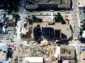 English: Aerial view of Alfred P. Murrah Federal Building after bombing, 1995