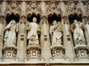 Westminster Abbey, West Door, Four of the ten 20th Century- Mother Elizabeth of Russia, Rev. Martin Luther King, Jr., Archbishop Oscar Romero, and Pastor Dietrich Bonhoeffer.