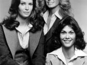 Publicity photo of the cast of the television program Charlie's Angels. From left: Jaclyn Smith, Farrah Fawcett-Majors, and Kate Jackson.