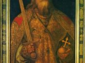 Charlemagne. Painted in the year of 14. This is in shape and likeness Emperor Charles, who subjected the Roman Empire to the Germans. His crown and clothing well esteemed is shown publicly in Nuremberg each year, along with other sanctuaries.