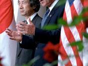 English: President George W. Bush and Japanese Prime Minister Junichiro Koizumi make a joint statement pledging to support each other in the fight against global terrorism during press conference in the Rose Garden September 25, 2001.