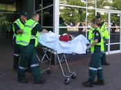ACTAS Paramedics transport a mock-victim during a mass casualty exercise in Canberra.