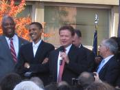 Photo from the political rally for Jim Webb at Virginia Union. Photo includes Jim Webb, Barack Obama, Doug Wilder, Mark Warner, Tim Kaine and others.