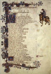 English: Scan of Ellesmere manuscript of Canterbury Tales. The first page of Knight's Tale.