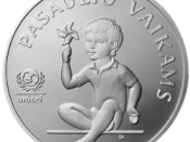 5 litas coin, issued as an item of the United Nations Children's Fund (UNICEF) coin program