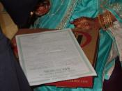 English: picture of girl signing a 'nikahnama', the Muslim marriage certificate