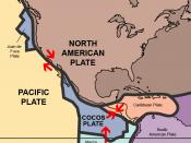 English: Practically of all Mexico rests on the North American Plate, with small parts of the Baja California Peninsula on the Cocos Plate and Pacific Plate. Español: Prácticamente todo el territorio de México se encuentra en la Placa Norteamericana; pequ