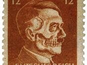 United States made propaganda forgery of Nazi German stamp. Portrait of Hitler made into skull; instead of