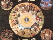 English: The Seven Deadly Sins and the Four Last Things is a painting by Hieronymus Bosch, completed in 1485. The painting is oil on wood panels.