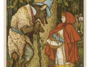 English: Little Red Riding Hood Meets the Wolf in the Woods by Walter Crane