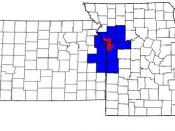 English: The 15-county Kansas City Metropolitan Area, with the approximate city limits of Kansas City, Missouri in red and counties in blue. (In regards to image uploaded 6 August 2005, 2230 CDT)