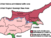 English: Map of the districts of Cyprus, named in English, with English annotations, and showing the Turkish Republic of Northern Cyprus, United Kingdom Sovereign Base Areas, and United Nations buffer zone. The individual maps see below. Deutsch: Karte de