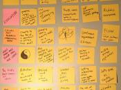 an exercise in ideas on post it notes