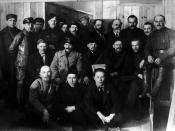 Delegates VIII Congress of the RKP(b). First row, left to right: I. Smilga, V. Schmidt, S. Zorin. Middle row, left to right: G. Evdokimov, J. Stalin, V. Lenin, M. Kalinin, P. Smorodin. Upper row: P. Malkov, E. Rahja, S. Galiev, P. Zalutsky, J. Drobnis, M.
