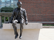 English: A likeness of sits outside Neil Armstrong Hall of Engineering on the campus of in .