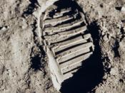 English: One of the first steps taken on the Moon, this is an image of Buzz Aldrin's bootprint from the Apollo 11 mission. Neil Armstrong and Buzz Aldrin walked on the Moon on July 20, 1969.