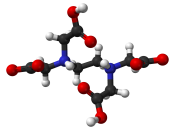 Ball-and-stick model of the EDTA molecule as found in the crystal structure. Colour code: Carbon, C: grey-black Hydrogen, H: white Nitrogen, N: blue Oxygen, O: red Structure by X-ray crystallography from Acta Cryst. B (1972) 28, 781–785. Image generated i