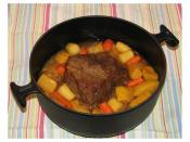 English: Beef top round with parsnips, carrots, onion, gold beets & rutabega