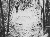 English: NVA troops marching along the Laotian section of the Ho Chi Minh Trail, photographed by a reconnaissance patrol of SOG.