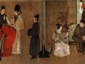 Half-section of the Chinese painting Night Revels of Han Xizai, handscroll, ink and colors on silk, 28.7 x 335.5 cm. Original by Gu Hongzhong (10th century), 12th century remake of the Song Dynasty. Collection of the Palace Museum in Beijing.