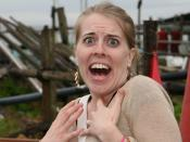 Actress demonstrating initial reactions of fear and panic.