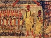 Jews cross Red Sea pursued by Pharoah. Fresco from Dura Europos synagogue