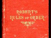 1876 cover of Robert's Rules of Order , a book containing rules of order intended to be adopted for use by a deliberative assembly.