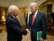 English: Vice President Dick Cheney bids farewell to Vice President-elect Joe Biden Thursday, November 13, 2008, following their nearly hour-long visit at the Vice President's Residence at the U.S. Naval Observatory in Washington, D.C.