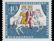 English: series for social welfare 1965, fairy tale of the brothers Grimm, Cinderella Deutsch: Wohlfahrtsmarken 1965, Märchen der Brüder Grimm, Aschenputtel :*Graphics by Stefula :*Ausgabepreis: 40+20 Pfennig :*First Day of Issue / Erstausgabetag: 6. Okto