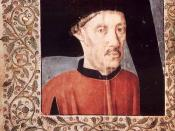 English: Portrait assumed to be of Portuguese prince Henry the Navigator (Infante D. Henrique), inserted as the frontispiece in a 15th C. edition of Gomes Eanes de Zurara's 1453 book Crónicas dos Feitos de Guiné.