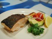 Grilled Salmon, Tomato Salsa, Avocado