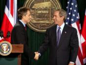 ExPrime Minister of the United Kingdom, Tony Blair shaking hands with President of the United States, George W. Bush, after they conclude a joint news conference at the Camp David