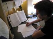 English: A Student of the University of British Columbia studying for final exams.