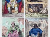 English: National Conveniences: Four ways of shitting, 1796. English, Scotch, French, Dutch.