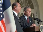 President George W. Bush and French President Jacque Chirac address the media in the Rose Garden November 6, 2001. source