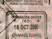 UK entry stamp from Channel tunnel