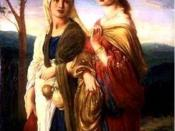 English: Miriam depicted on the right