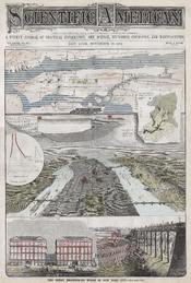 Offered here is a rare edition of Scientific American Magazine issued to praise the great engineering projects of New York City. The front cover features a map of New York City's elevated train line – the precursor to the modern subway system, a View of M