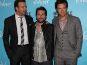 English: Jason Sudeikis, Charlie Day, and Jason Bateman at the film premiere of Horrible Bosses.