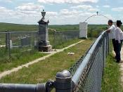 English: The mass grave at the Wounded Knee Massacre site in South Dakota on the Pine Ridge Reservation.