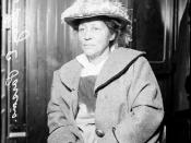 English: Three-quarter length portrait of Mrs. Lucy E. Parsons, arrested for rioting during an unemployment protest at Hull House in Chicago, Illinois. Mrs. Parsons is also the widow of Albert Parsons, one of the men hanged for complicity in the Haymarket